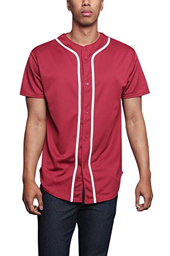 - Men's Premium Baseball Button-up Athletic Contrast Trim Short Sleeve Jersey STS0171 - Burgundy - Large - A8I