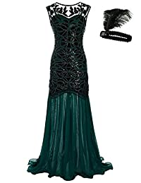 General Women 's 1920s Sequin Maxi Long Evening Prom Party Dress