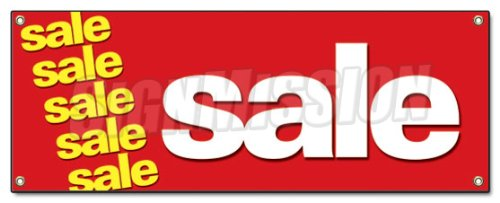 Amazon.com: SALE BANNER SIGN clearance retail signs 50% everything ...