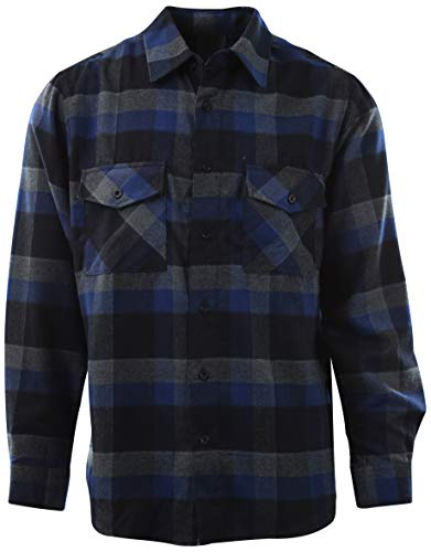 - ChoiceApparel Mens Soft and Durable Button Down Flannel Long Sleeve Shirts and Jackets (Many Patterns and Styles) (2XL, 606-Blue/Black)
