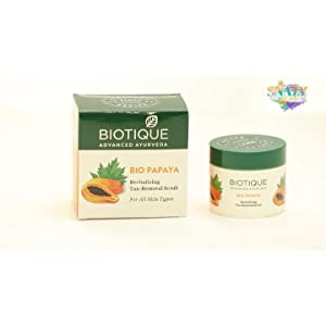 Biotique Bio Papaya Revitalizing Tan Removal Scrub, 75g & Biotique Apricot Body Wash, Transparent, 200 ml