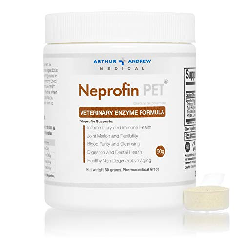 (Arthur Andrew Medical - Neprofin PET, Veterinary Enzyme Formula, Household Pet Support for Pain-Free Living, Vegan, Non-GMO, 50g Tub)