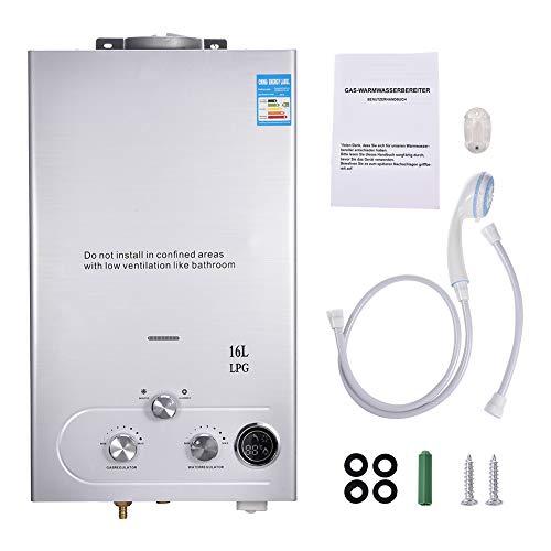 Calentador de agua de gas propano GLP sin deposito, calentador de agua caliente montado en la pared, con pantalla LCD que muestra la temperatura y cabezal de ducha para camping y autocaravana