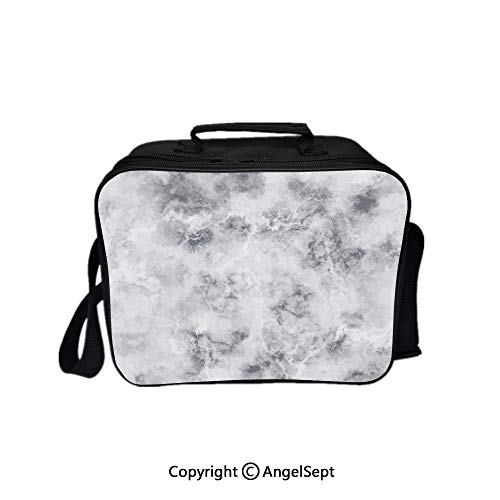 Compartment Lunch Bag for Men, Women,Granite Surface Pattern with Stormy Details Natural Mineral Formation Print Decorative Light Grey Dust 8.3inch,Lunch Cooler Bag with Shoulder Strap