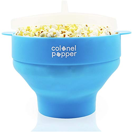 Colonel Popper Microwave Popcorn Maker Air Popper Silicone Bowl - Use any Kernels, Salt, Oil (Blue) (Best Popcorn Machine For Home Use)