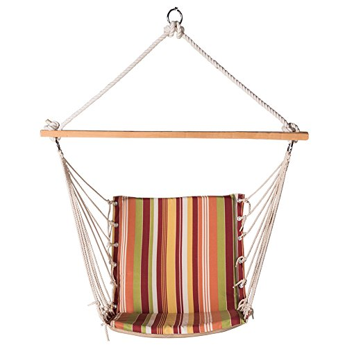 Lazy Daze Hammocks Cushioned Hanging Hammock Swing Lounger Chair All Weather Rope Chair Cotton Padded Hammock Seat, Capacity 350 lbs, Orange Stripe Review