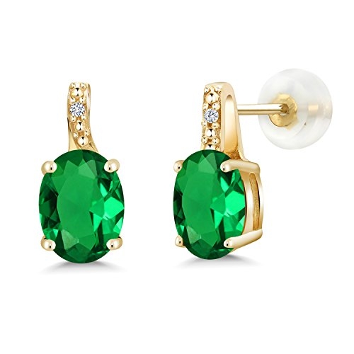 Gem Stone King 2.01 Ct Oval Green Simulated Emerald White Diamond 10K Yellow Gold Earrings (Green Diamond Stud Earrings)