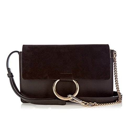 Suede Front Flap Small Cross Body Bag Purse with Chain Fashion Chain Shoulder Purse FY (Small Suede Purse)