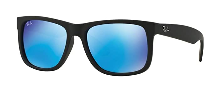 861d740f612 Ray-Ban Justin RB4165 Classic Sunglasses (54 mm Matte Black Frame w Blue  Mirror Lens)  Amazon.co.uk  Clothing