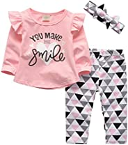 i-Auto Time Baby Girl Clothes You Make Me Smile Print Tops+Pants+Headband Outfit Set