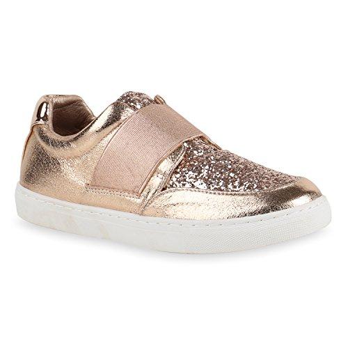 Damen Sneakers Slipper Slip-Ons Metallic Kroko Gold Silber New Look Flandell  Rose Gold Bernice