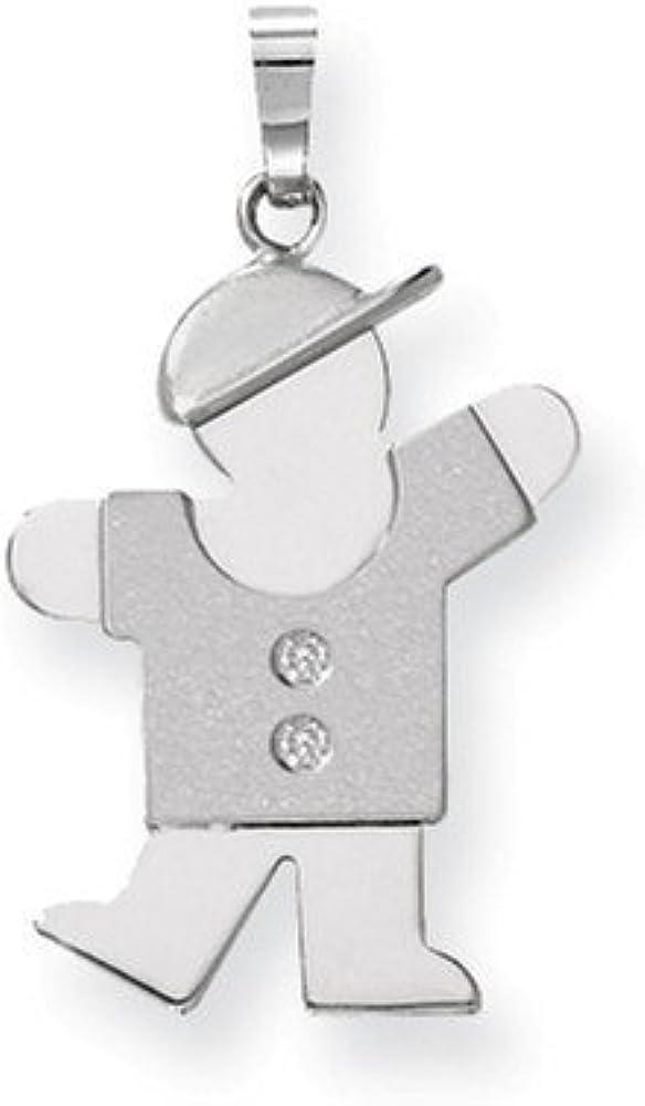 14k White Gold AA Diamond Kid Pendant