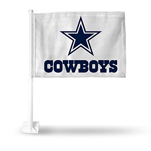 Football Car Flag - NFL Dallas Cowboys Car Flag, White, with White Pole