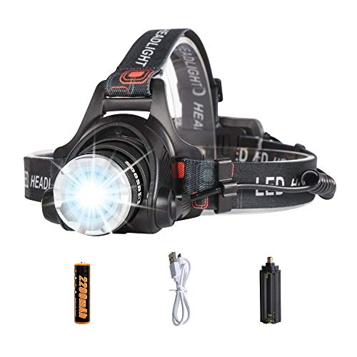 (LED Headlamp Flashlight,COSOOS Rechargeable Headlamp with Red Safety Light,1000 Lumen,Zoomable,4-Mode Tactical Headlight,Waterproof Head Lamp for Adults,Camping,Father Day Gift,Li-ion Battery Included)
