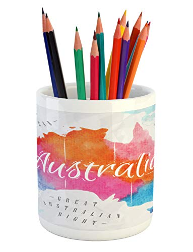 Lunarable Australia Pencil Pen Holder, Vintage Atlas Style Colorful Country Map in Watercolor Paint with Windrose, Printed Ceramic Pencil Pen Holder for Desk Office Accessory, -