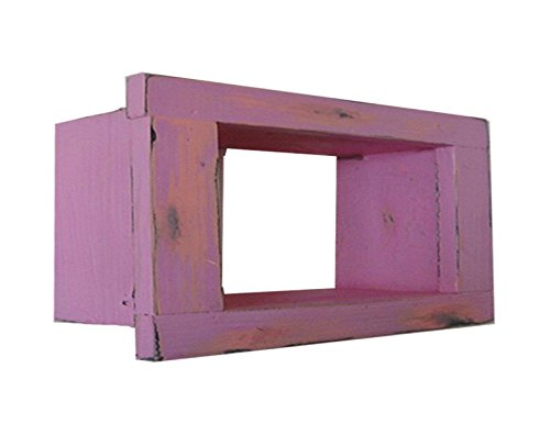Wood / Wooden Shadow Box Display - 9'' x 6'' - Hot Pink - Decorative Reclaimed Distressed Vintage Appeal by IGC