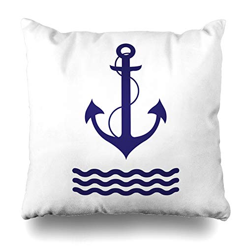 Alfredon Throw Pillow Cover Sharp Blue Pattern Anchor Nautical Navy Antique Black Boat Button Equipment Design Secure Pillowcase Square Size 20 x 20 Inches Zippered Home Decor Cushion Case