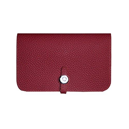 WTUS Mujer Cartera De Cuero De Pasaportes De Paquetes De Gran Capacidad De Sacar El Monedero De Cuero De Lichi rojo1