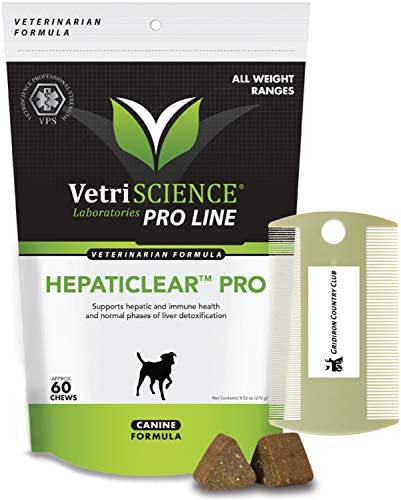 VetriScience Hepaticlear Pro for Canines 60 Soft Chews with Complimentary Gridiron Dual Pet Comb – Hepato Liver Support Supplement Detoxifier for Dogs
