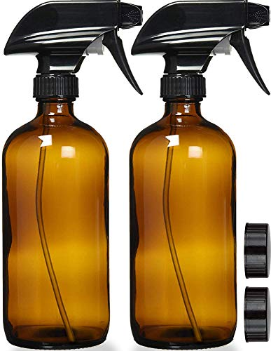 Empty Amber Glass Spray Bottles with Labels (2 Pack) - 16oz Refillable Container for Essential Oils, Cleaning Products, or Aromatherapy - Durable Black Trigger Sprayer w/Mist and Stream Settings