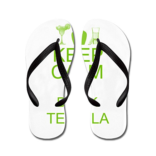 CafePress Keep Calm and Drink Tequila - Flip Flops, Funny Thong Sandals, Beach Sandals Black