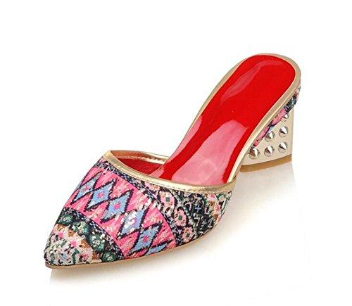 bomba 2017 gran Red Zapatillas de estilo mulas pie sandalias zapatos tamaño Cool dedo bohemio verano de la de de Casual talón mediados del punta Mujeres x0WB1aqzW