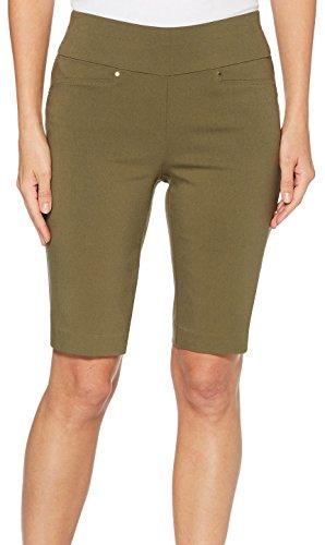 Rafaella Womens Pull-On Solid Bermuda Shorts 6 Green (Solid Bermuda)