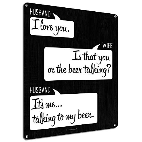 I Love You. Is That You or the Beer Talking, 9 x 12 Inch Metal Sign, Funny Beer Signs, Man Cave, Garage, Pub, Brewery, Home Bar, Decor, Quotes and Gifts for Beer Lovers, Dads, Guys, RK3124 9x12 - Man Cave Pub Sign