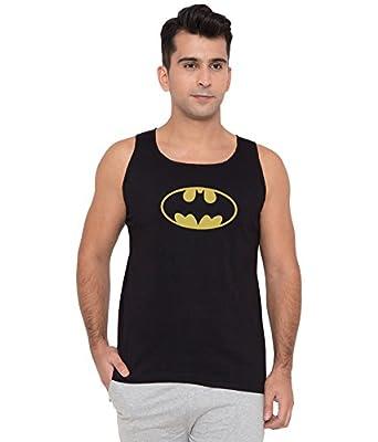 American-Elm Men Black Cotton Sleeveless Batman Logo Printed Vests