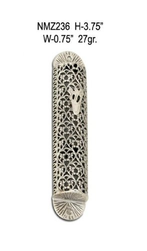 Sterling Silver Mezuzah Cover - Sterling Silver Mezuzah Cover, With Filigree Design
