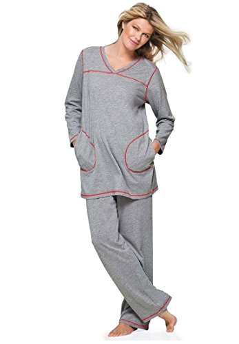Dreams & Co. Women's Plus Size Topstitched Pajamas – Medium, Heather Grey Red