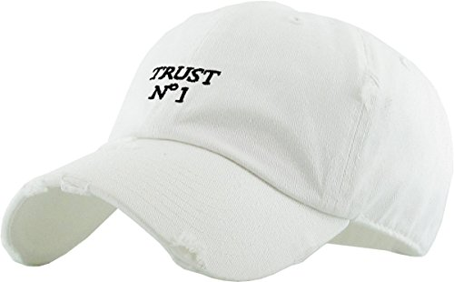 KBSV-055 WHT Trust No1 Vintage Distressed Dad Hat Baseball Cap Polo Style