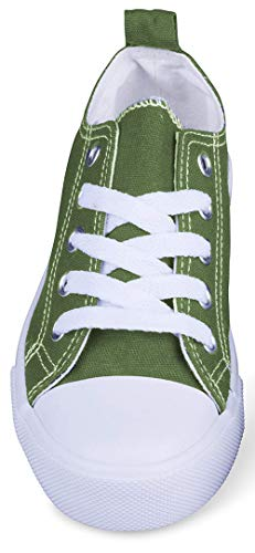 Girls Canvas Sneakers Low Top Classic Fashion Tennis Athletic Shoes Kids (12 Kids, Olive)