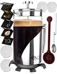 French Press Coffee & Tea Maker Complete Bundle | 34 oz | Coffee Pot with 304 Stainless Steel & Double German Glass
