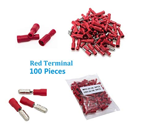 AMASKY(TM) 100pcs Red Assorted Insulated Female&Male Bullet Butt Connector wire Crimp Terminals