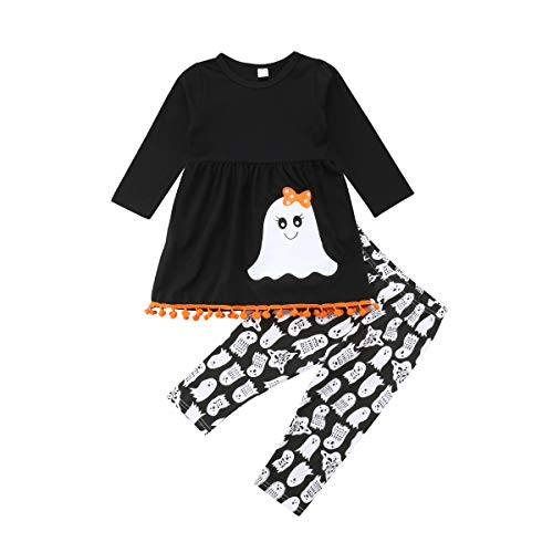 Halloween Toddler Kids Girls Cute Ghost Tassels T-Shirt Tops + Long Leggings Pants 2Pcs Outfits Set -