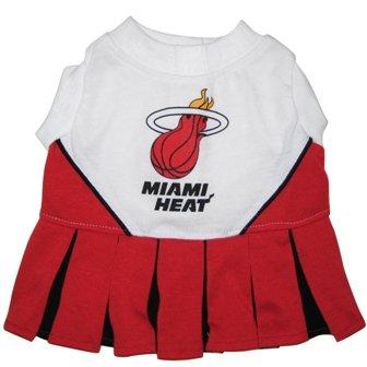 Cheerleader Heat - Pets First NBA Miami Heat Dog Cheerleader Dress, Small