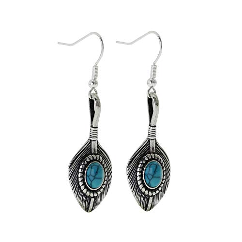 (Western Silver Tone Turquoise-colored Feather Drop Earrings Women's Handmade Charm Earring Set)