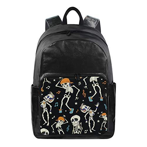 Oarencol Funny Dancing Skeletons Party Halloween Music Disco Skull Ghost Backpacks Travel Laptop Daypack Waterproof School College Bag Bookbags -