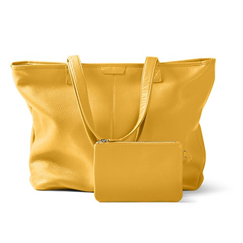Large Zippered Downtown Tote - Full Grain Leather Leather - Turmeric (yellow) by Leatherology