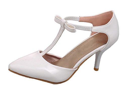 Fermeture Femme AgooLar Blanc Unie Sandales GMBLB014157 Verni Correct D'orteil Talon à Couleur 4Wd0Pqnd6w