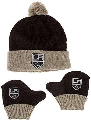 OTS NHL Los Angeles Kings Pow Knit Cap & Mittens Set, Black, Infant ()