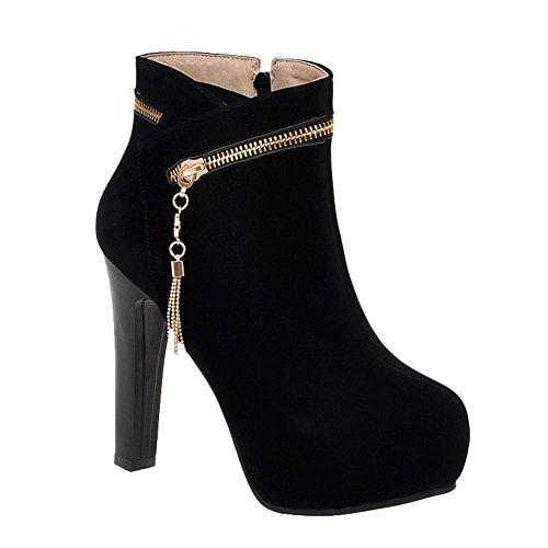 Carolbar Womens Dress High Boots Pendant Black Multi Zip Heel Platform Short rrnqfCw