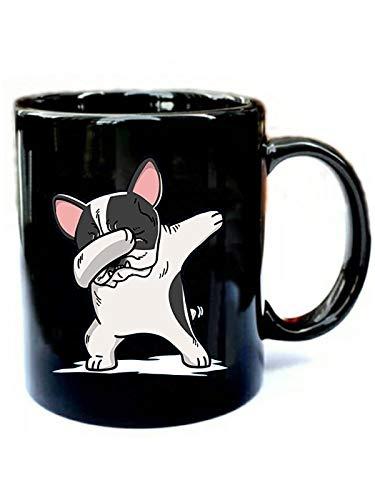 Pied French Bulldog Dabbing - Funny Gift Black 11oz Ceramic Cozy Coffee Mug ()