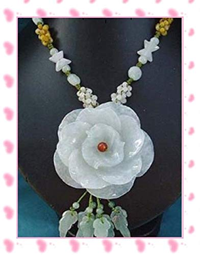 Huge Delicately Carved Jadeite Jade 2-Layer China Rose Flower Beaded Necklace