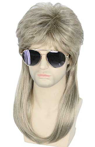 Topcosplay Mens 80s Mullet Wig Blonde Long Hillbilly Costume Redneck Wig Joe Dirt Wig Halloween -