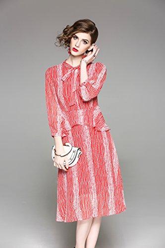 Women`s Sleeve cotyledon 4 line Waist 3 Dresses A Knot Dress Bow Printed high Neck gapwa8dq