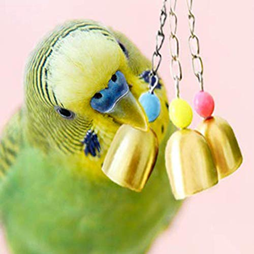 zzJiaCzs Parrot Chewing Toy,Foraging Hanging Toy,Pet Bird Parrot Pigeon Hanging 3 Bell Chain Cage Stand Bite Playing Sound Toy Golden