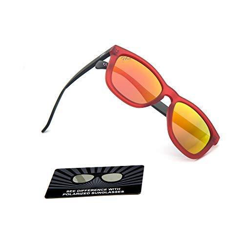 (Polarized Mirrored Sport Sunglasses for Man/Women (Black Red Frame/Yellow Lens))