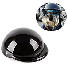 IAMUQ Dog Helmet, Cool Black Pet Hat Funny Dog Helmet Sun Rain Protection Small Medium Costumes Accessories - S
